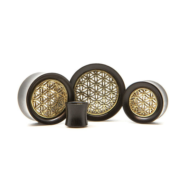 Brass Flower Of Life Wood Tunnel - Custom Flesh Plugs & Gauges, Alternative, Tattoo - Wood Plugs - 1