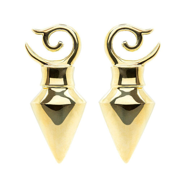 Brass Pyramid Ear Weights (Pair) - Custom Flesh Plugs & Gauges, Alternative, Tattoo - Ear Weights - 1