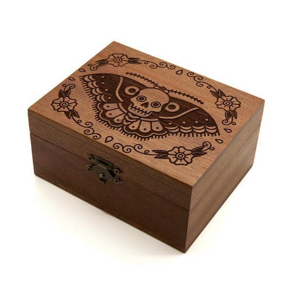 Butterfly Skull - Wooden Jewellery Box