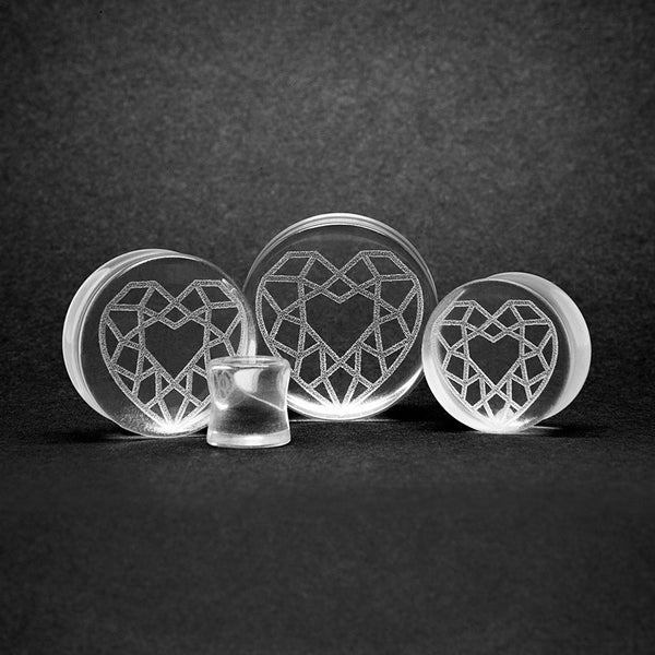 Diamond Heart Glass Plug - Custom Flesh Plugs & Gauges, Alternative, Tattoo - Glass Plug - 1