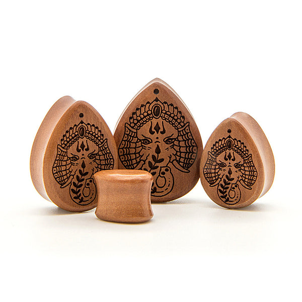 Elephant Saba Teardrop Wood Plug - Custom Flesh Plugs & Gauges, Alternative, Tattoo - Engraved Woods - 1