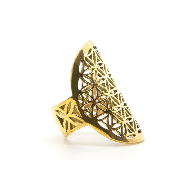 Flower Of Life Brass Ring - Custom Flesh Plugs & Gauges, Alternative, Tattoo - Jewellery - Ring - 1