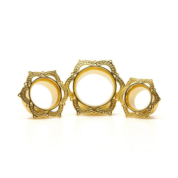 Gold Lotus Tunnel - Custom Flesh Plugs & Gauges, Alternative, Tattoo - Steel Plugs - 1