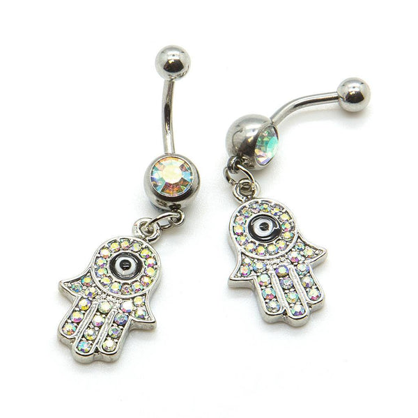 Hamsa Belly Bar - Custom Flesh Plugs & Gauges, Alternative, Tattoo - Belly Bar - 1