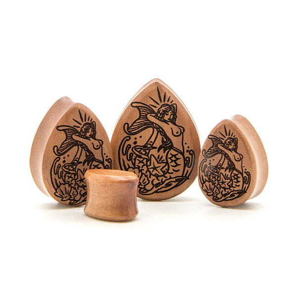 Mermaid Saba Teardrop Wood Plug - Custom Flesh Plugs & Gauges, Alternative, Tattoo - Engraved Woods - 1