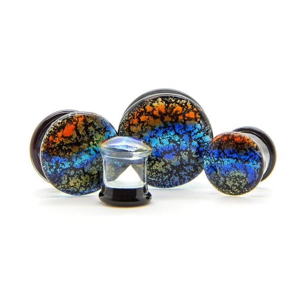 Peacock Glass Plug - Custom Flesh Plugs & Gauges, Alternative, Tattoo - Glass Plug - 1