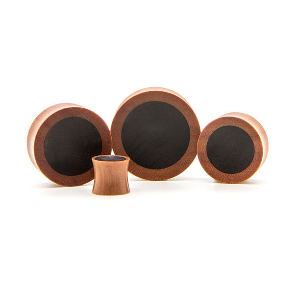 Rosewood And Ebony Double Flare Plug - Custom Flesh Plugs & Gauges, Alternative, Tattoo - Wood Plugs - 1