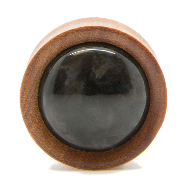 Saba Wood With Black Stone Plug - Custom Flesh Plugs & Gauges, Alternative, Tattoo - Wood Plugs - 1