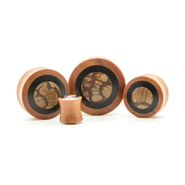 Saba And Zebra Wood Plug - Custom Flesh Plugs & Gauges, Alternative, Tattoo - Wood Plugs - 1