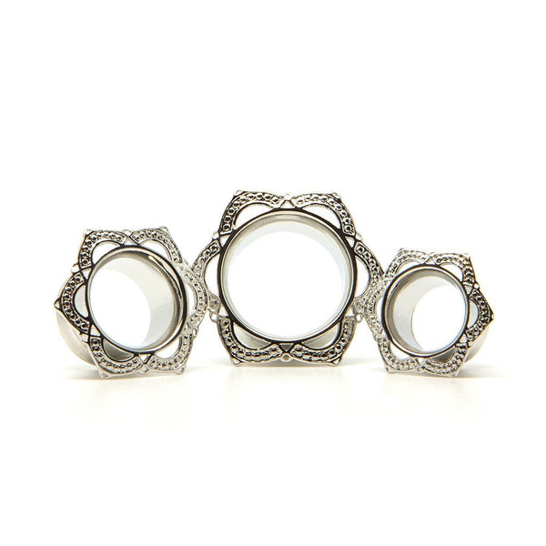Silver Lotus Tunnel - Custom Flesh Plugs & Gauges, Alternative, Tattoo - Steel Plugs - 1