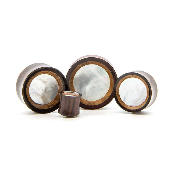 Teak And White Shell Concave Plug - Custom Flesh Plugs & Gauges, Alternative, Tattoo - Wood Plugs - 1