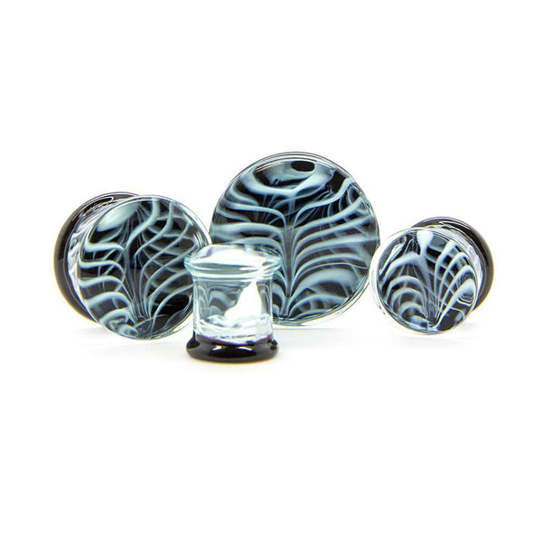 White Ribcage Glass Plug - Custom Flesh Plugs & Gauges, Alternative, Tattoo - Glass Plug - 1