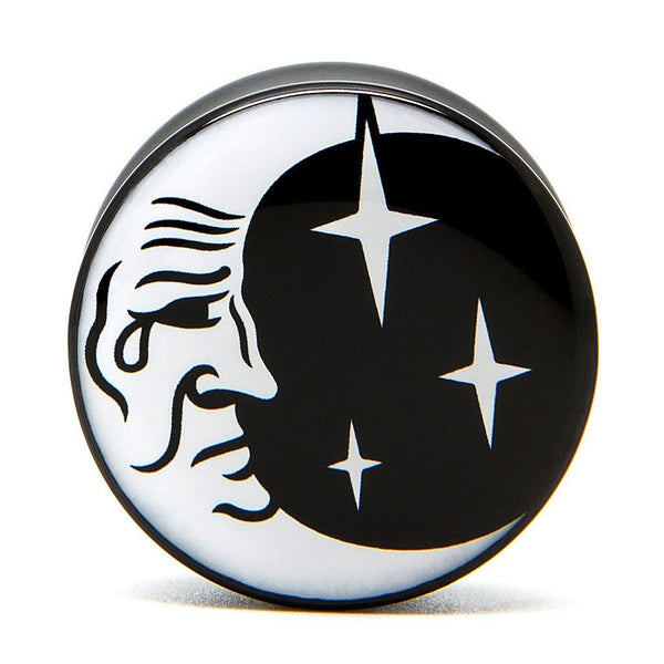 Moon & Stars - Plug - Plugs - Ear Gauges, Flesh Tunnels for Stretched Ears - Acrylic Plugs - 1