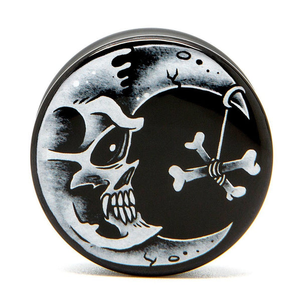 Skull Moon - Plug - Custom Flesh Plugs & Gauges, Alternative, Tattoo - Acrylic Plugs - 1