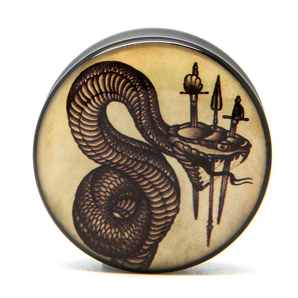 Snake Dagger - Plug - Custom Flesh Plugs & Gauges, Alternative, Tattoo - Acrylic Plugs - 1