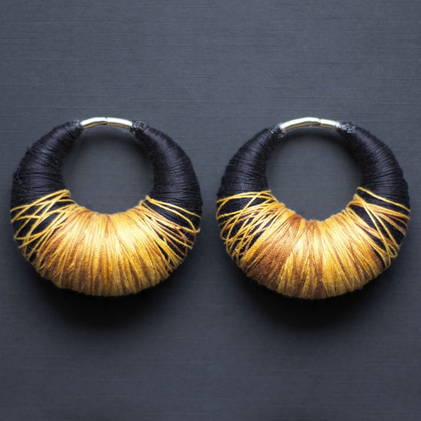 Yarn Ear Weights - Black & Yellow - Custom Flesh Plugs & Gauges, Alternative, Tattoo - Ear Weights - 1