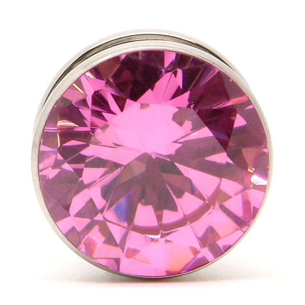 Pink Gem Steel Plug - Custom Flesh Plugs & Gauges, Alternative, Tattoo - Steel Plugs - 1