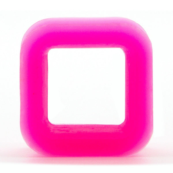 Pink Square Silicone Tunnel - Custom Flesh Plugs & Gauges, Alternative, Tattoo - Silicone Plugs - 1