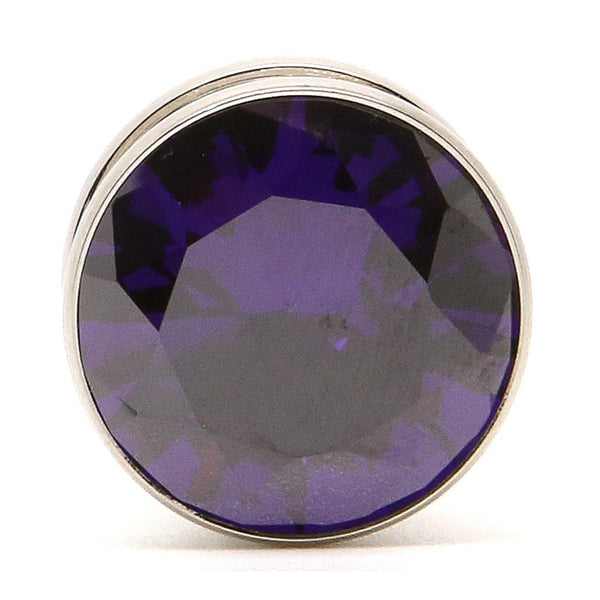 Purple Gem Steel Plug - Custom Flesh Plugs & Gauges, Alternative, Tattoo - Steel Plugs - 1