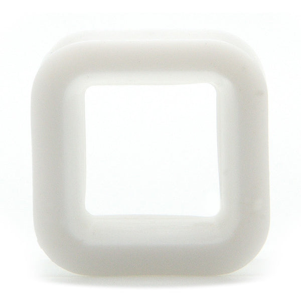White Square Silicone Tunnel - Custom Flesh Plugs & Gauges, Alternative, Tattoo - Silicone Plugs - 1