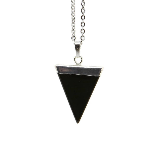 Black Onyx Triangle Necklace - Custom Flesh Plugs & Gauges, Alternative, Tattoo - Accessories - 1