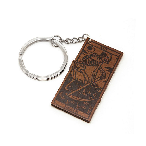 Death Tarot Wood Keyring - Custom Flesh Plugs & Gauges, Alternative, Tattoo - Keyring - 1