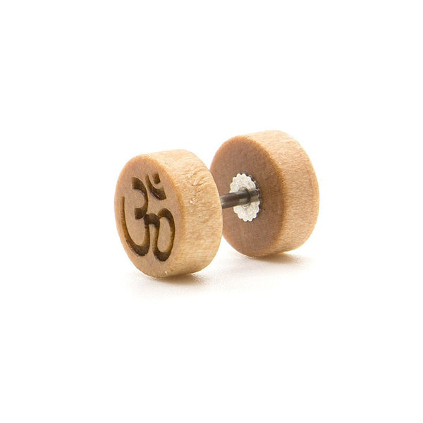 Ohm - Wood Fake Plug - Custom Flesh Plugs & Gauges, Alternative, Tattoo - Fake Plugs - 1