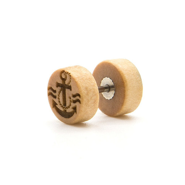 Simple Anchor - Wood Fake Plug - Custom Flesh Plugs & Gauges, Alternative, Tattoo - Fake Plugs - 1
