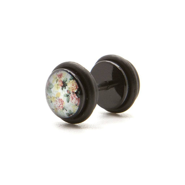 White Floral - Fake Plug - Custom Flesh Plugs & Gauges, Alternative, Tattoo - Fake Plugs - 1