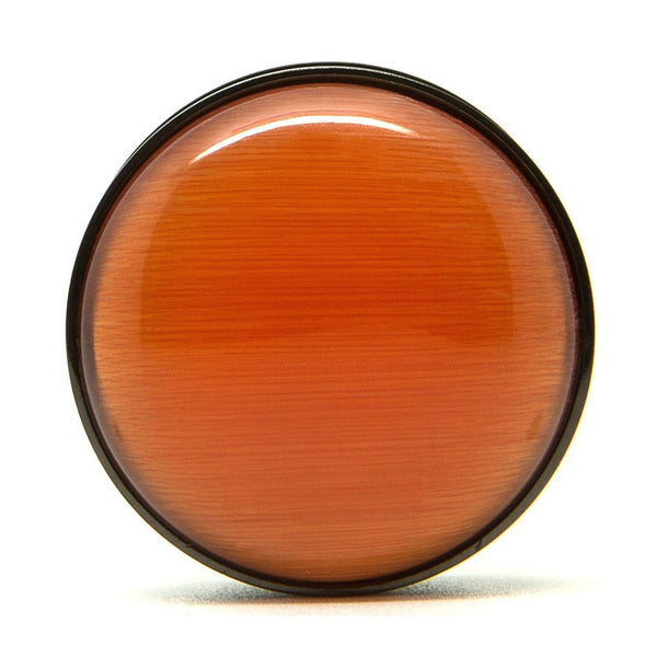 Orange & Black Steel Screwback Plug - Custom Flesh Plugs & Gauges, Alternative, Tattoo - Steel Plugs - 1
