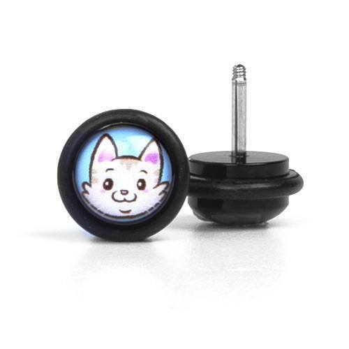 Cute Kitty - Fake Plug - Custom Flesh Plugs & Gauges, Alternative, Tattoo - Fake Plugs - 1