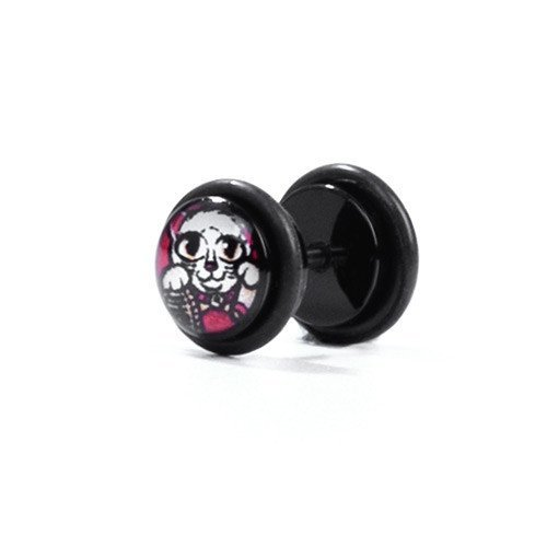 Lucky Cat - Fake Plug - Custom Flesh Plugs & Gauges, Alternative, Tattoo - Fake Plugs - 1
