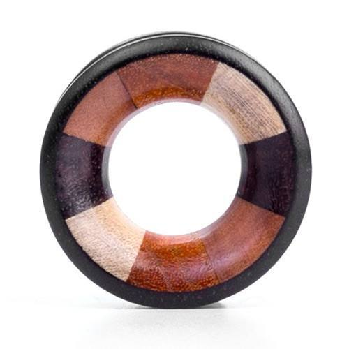 Black Sono Tunnel - Mixed Inlay - Custom Flesh Plugs & Gauges, Alternative, Tattoo - Wood Plugs - 1
