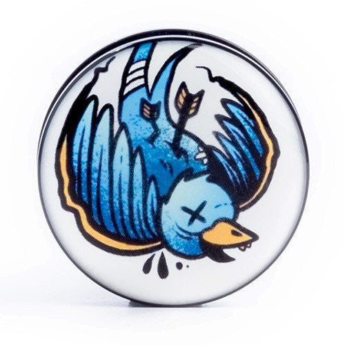 Blue Swallow - Plug - Custom Flesh Plugs & Gauges, Alternative, Tattoo - Acrylic Plugs - 1