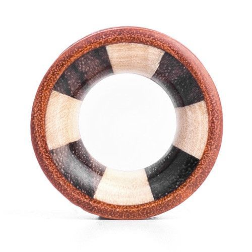 Cang Wood Tunnel - Mixed Inlay - Custom Flesh Plugs & Gauges, Alternative, Tattoo - Wood Plugs - 1