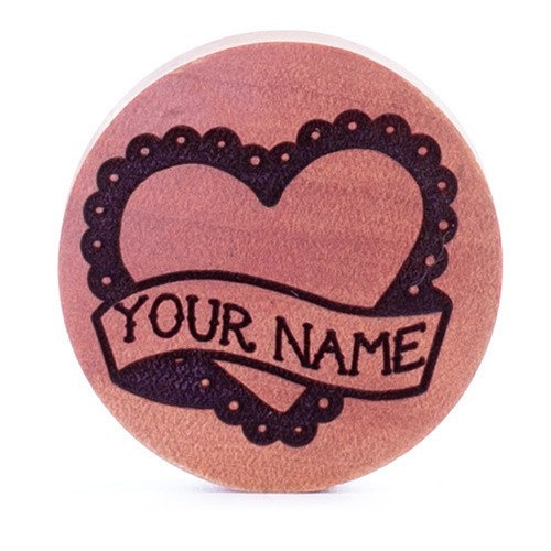 Insert Your Words Cute Heart Plug Pair - Custom Flesh Plugs & Gauges, Alternative, Tattoo - Custom Woods - 1