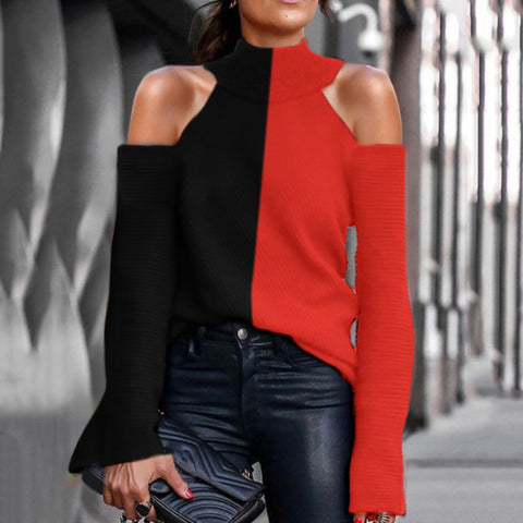 Women's Stylish Turtleneck Colorblock Off-Shoulder Long Sleeve Sweater
