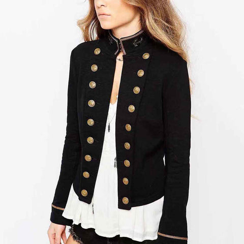 British Style Solid Color Slim Double-Breasted Jacket