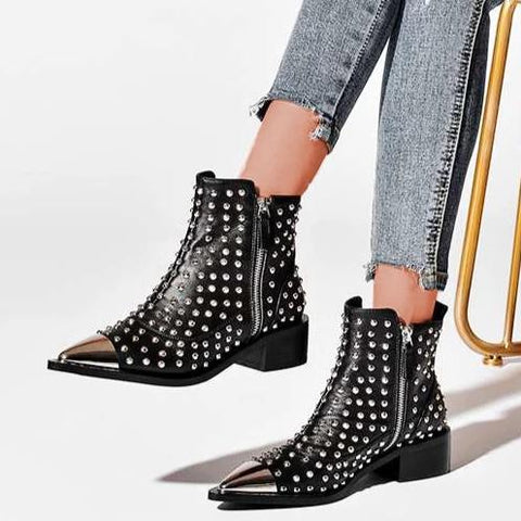 Women's fashion solid color pointed rivet boots