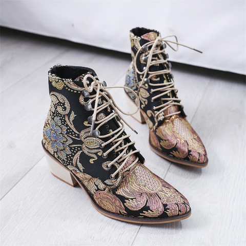 Women's embroidered flower lace-up boots