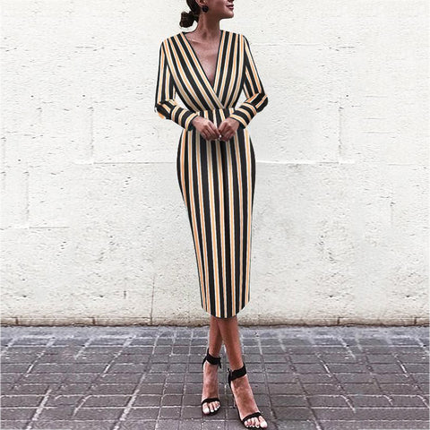 Sexy Striped V-neck Long Sleeve Hip Dress