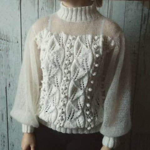 Sweet High Collar Solid Color Twist Perspective Knit Sweater