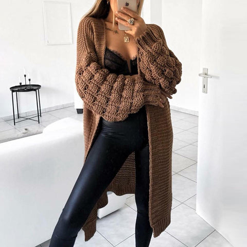 Women's Fashion Shoulder Sleeve Pure Color Cardigan