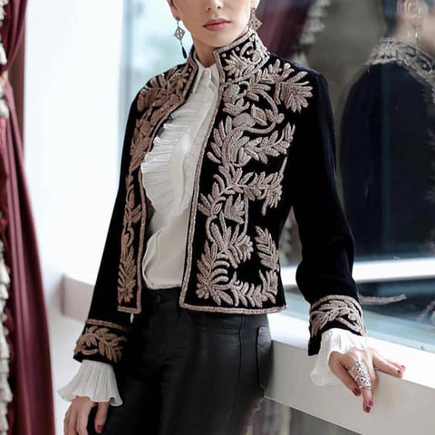 Women's Vintage Long Sleeve Stand Collar Embroidery Short Coat