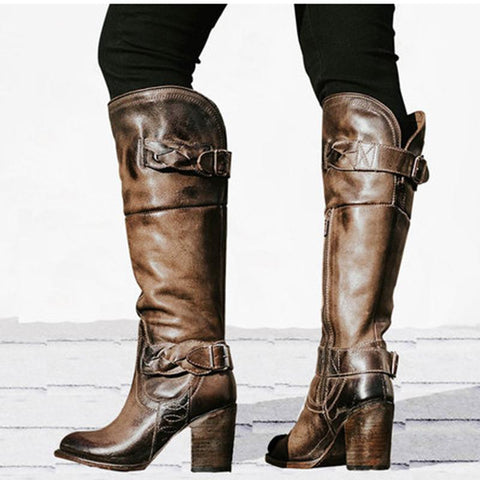 Women's new high boots retro England thick with Martin boots