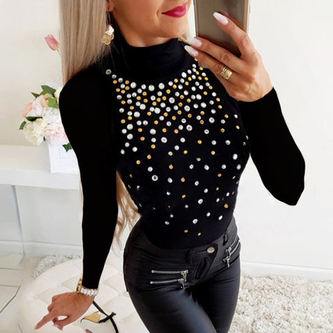 Ladies Stylish Turtleneck Slim-fit Top