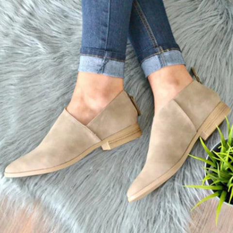 Plain  Flat  Point Toe  Outdoor Comfort Flats boots