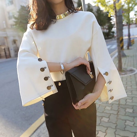 Fashion Round Neck Bell Sleeve Suede Blouse