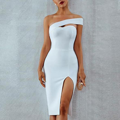 Sexy Slit Irregular Off-Shoulder Bare Back Evening Dress