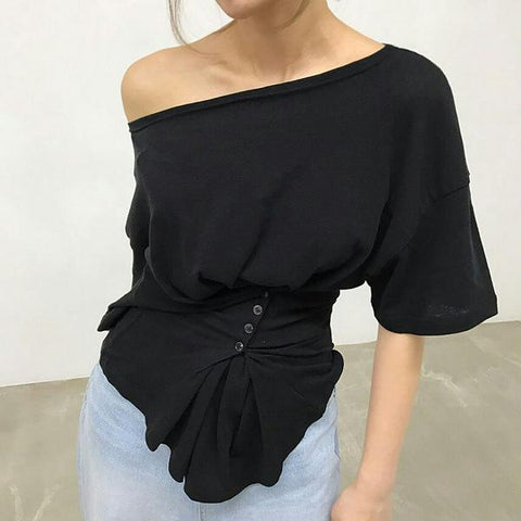 Fashion Slim One Shoulder Solid Color Cotton Wild T-Shirt Tops